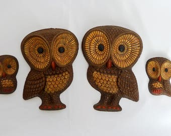 Set of Four Vintage Wall Hanging Owls