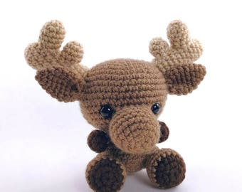 PATTERN: Crochet moose pattern - amigurumi moose pattern - crocheted moose pattern - moose stuffie - woodland creature - PDF crochet pattern
