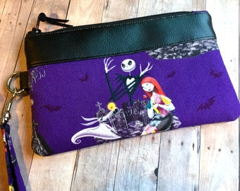 Purple & Black Wristlet, Jack and Sally Zipper Pouch, Iphone Wristlet, Wristlet Wallet, Purse Organizer, Faux Leather Trim, Gift for Her