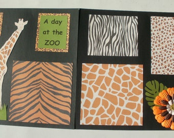 A Day At The Zoo 12 x 12 inch Scrapbook  2 Page Premade Layout Pages Giraffe