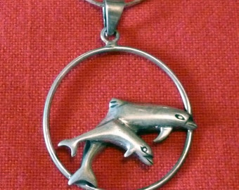 VINTAGE Sterling Silver Leaping Dolphins Pendant