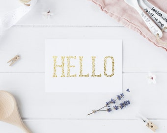 Set of 10 Gold Foil Flat Note 'Hello' Cards
