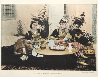 Arab women, Algeria, original 1895 print - Ethnic, Muslim, folk, traditional dress - 120 years old antique photographic illustration (C223)