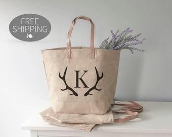 Deer Antler Tote Bag, Personalized Tote Bag, Antlers, Bridesmaid Tote Bag, Custom Made Tote Bag, Burlap Tote, Monogram Tote Bag, Boho