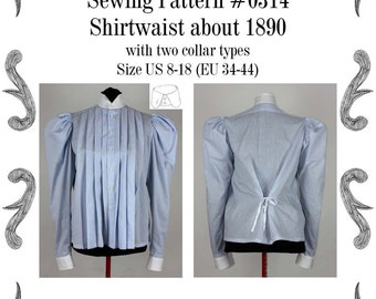 Edwardian Shirtwaist about 1890 with two collar types Sewing Pattern #0314 Size US 8-26 (EU 8-52) PDF Download