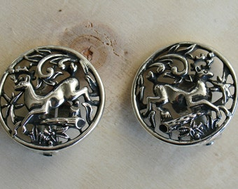 "Vintage 1958 SARAH COVENTRY ""Woodland Flight"" Silver Tone Deer Round Clip on Earrings"