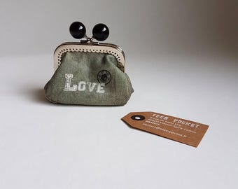 "Wallet military canvas ""Love"""