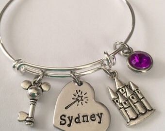 Mickey Mouse bracelet with name-personalized mickey castle bracelet