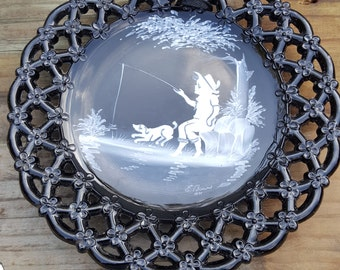 Vintage Westmoreland Black Glass Mary Gregory Plate