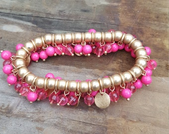 Gold Tone And Pink Bead Cha Cha Bracelet