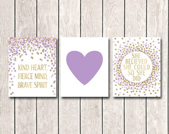 Set of 3 Prints Nursery Decor She Believed She Could So She Did Print Purple Gold Nursery Art Baby Girl Nursery Wall Decor Lavender And Gold