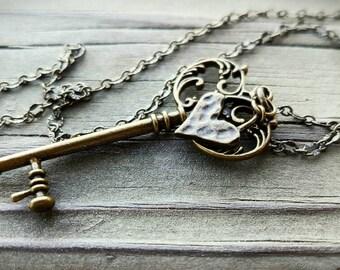Key to my Heart: Bronze Skeleton Key Dangle Necklace