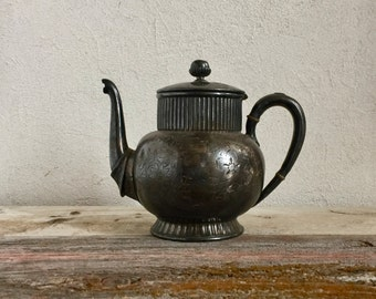 Silver Tea Pot, Silver-Plated Victorian Tea Pot, Heavy Patina