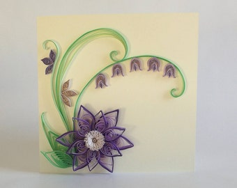 Paper Quilled Flower Card, Quilled Bluebell Card, Purple Flower Quilling Card, Quilled Birthday Card, Quilled Greeting Card, Paper Quilling