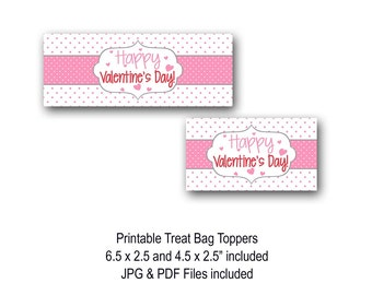 Valentine's Day Treat Bag Toppers, Valentine's Day, Bag Toppers, Classroom Treat Bag, Candy Bag, Printable, Polka Dot, Pink, Download