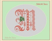 Decor monogram M with leaf. Counted Cross Stitch Pattern PDF. Font M for initial of persona. Letter M from gothic alphabet. Not alphabet