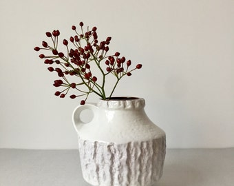 Vintage white vase, vase Carstens, German pottery, fat lava, mid century, Jasba, Scheurich, vintage Interior