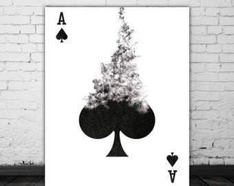 Ace Of Spades Playing Card Art Printable Decor, Black White Art, Card Game Room Art, Poker Gift, Smoke Art, Black White Print, Wall Poster