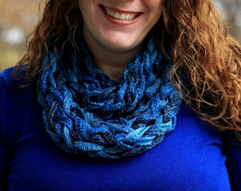 SALE Aquamarine, Infinity Cowl Scarf, Soft and warm