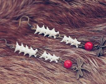 cornsnake bones vertebra dragonfly coral earrings