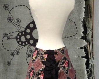 JUDITH ultra mini bustle skirt Montespan print tapestry victorian flowers