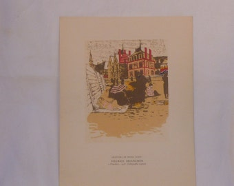 """Lithograph print Maurice Brianchon """" Trouville """" printed in France - vintage art print - antique art print - French lithograph - Lithograph"""