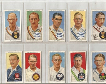 vintage 1938 john player cigarette cards  cricketers.