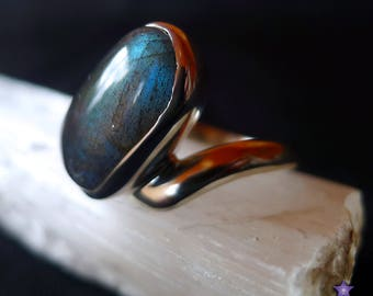 High Quality LABRADORITE RING in Sterling Silver - Size 8.5 (Q/R)
