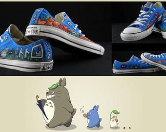 My Neighbor Totoro Japanese Anime Ghibli Converse Low-tops Custom Painted Kawaiiii! Size 8 : Chucks for Fiver