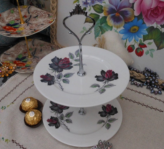 MASQUERADE CAKE STAND - Royal Albert - Two Tier Cake Stand -  Burlesque style - 1940s 1950's - Red and Black Roses - Jewellery Stand