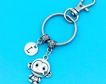 Cute Monkey Keychain, Lovely Monkey Key Chains, Custom Any Charm, Monkey Keyring, Personalized Keychain, Monkey Key Rings, Charm Keychain