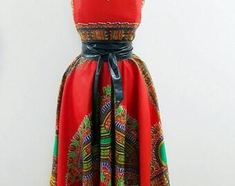 Custom Made RED Dashiki prom circle Flare  Maxi dress African clothing dashiko Sweetheart ball gown African women clothing