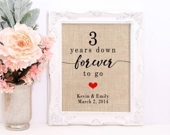 Unique Anniversary Gifts, Choose Any Year - 3 Years Down Forever To Go, Personalized Burlap Print