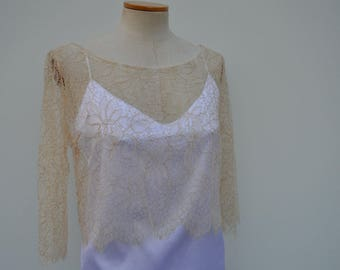 Clearance - 29% burp bridal lace, wedding, champagne, champagne lace top crop top lace top