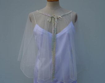 Clearance - 29% re-embroidered bridal Cape, poncho bridal ivory