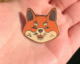 Red shiba inu hard enamel pin - 30mm