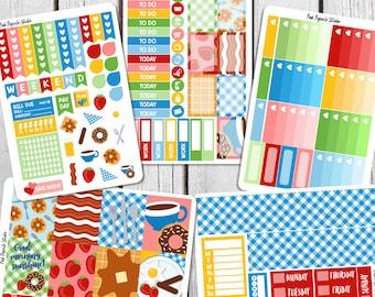 Breakfast Weekly Planner Sticker Kit For Erin Condren Life Planner Vertical