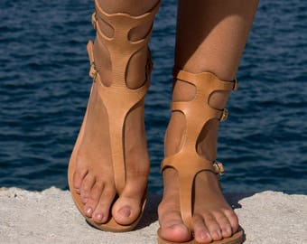 Leather Sandals - Natural color Ancient Greek Handmade Leather Sandals - Minimalistic sandals, Gladiator leather sandals