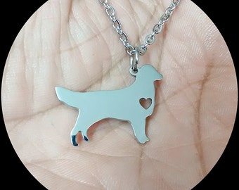 Golden Retriever Necklace Custom Made Stainless Steel iHeart Dog - Personalized Necklace.Engraving.Stainless Steel