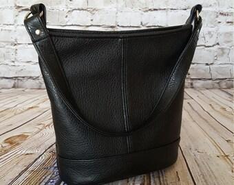 Black Slouchy Bucket Bag, READY TO SHIP