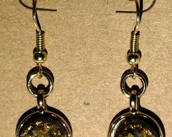 Gold Gemstone Earrings, Gold Finish