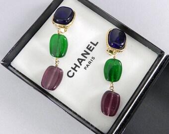 Chanel Vintage 1984 Gripoix Glass Drop Earrings