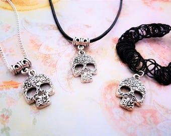 Sugar Skull Choker, Day Of The Dead Necklace, Calavera Jewelry, Skull Charm, Floral Pendant, Teen Gift, Dia De Los Muertos, Festival Jewelry
