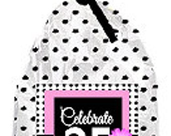 CakeSupplyShop Item#025BFC 25th Birthday / Anniversary Pink Black Polka Dot Party Favor Bags with Twist Ties -12pack