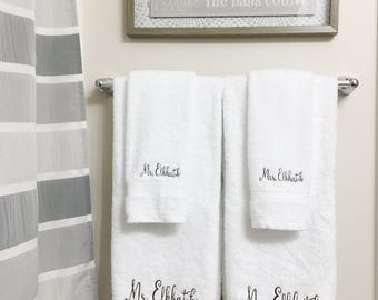 His & Hers - Engagement Gift - Bath Towels - Mr And Mrs Gift -Present - Monogrammed Towel - Wedding Gift - Newlywed Gift - Personalized Gift