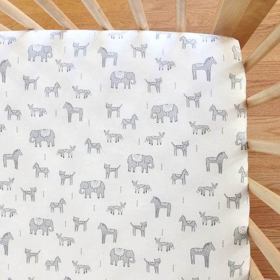 Crib Sheet in Flower Shop Dala Friends in Grey - MADE-to-ORDER -- neutral animal crib sheet, boho baby bedding, bohemian toddler sheet set