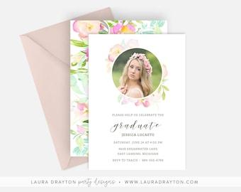 "Floral Calligraphy 5"" x 7"" Graduation Invitation - Digital or Printed"