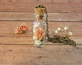 Peaches and cream, real flower necklace, terrarium jewelry, plant necklace, babys breath necklace