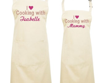 Personalised Matching Mother and Daughter Aprons, Embroidered Apron, gift for Mothers Day