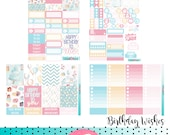 Birthday Wishes Planner Sticker Kit - great for planning in your Erin Condren Life Planner - Blue, Pink, Candles. Vertical Hourly Horizontal